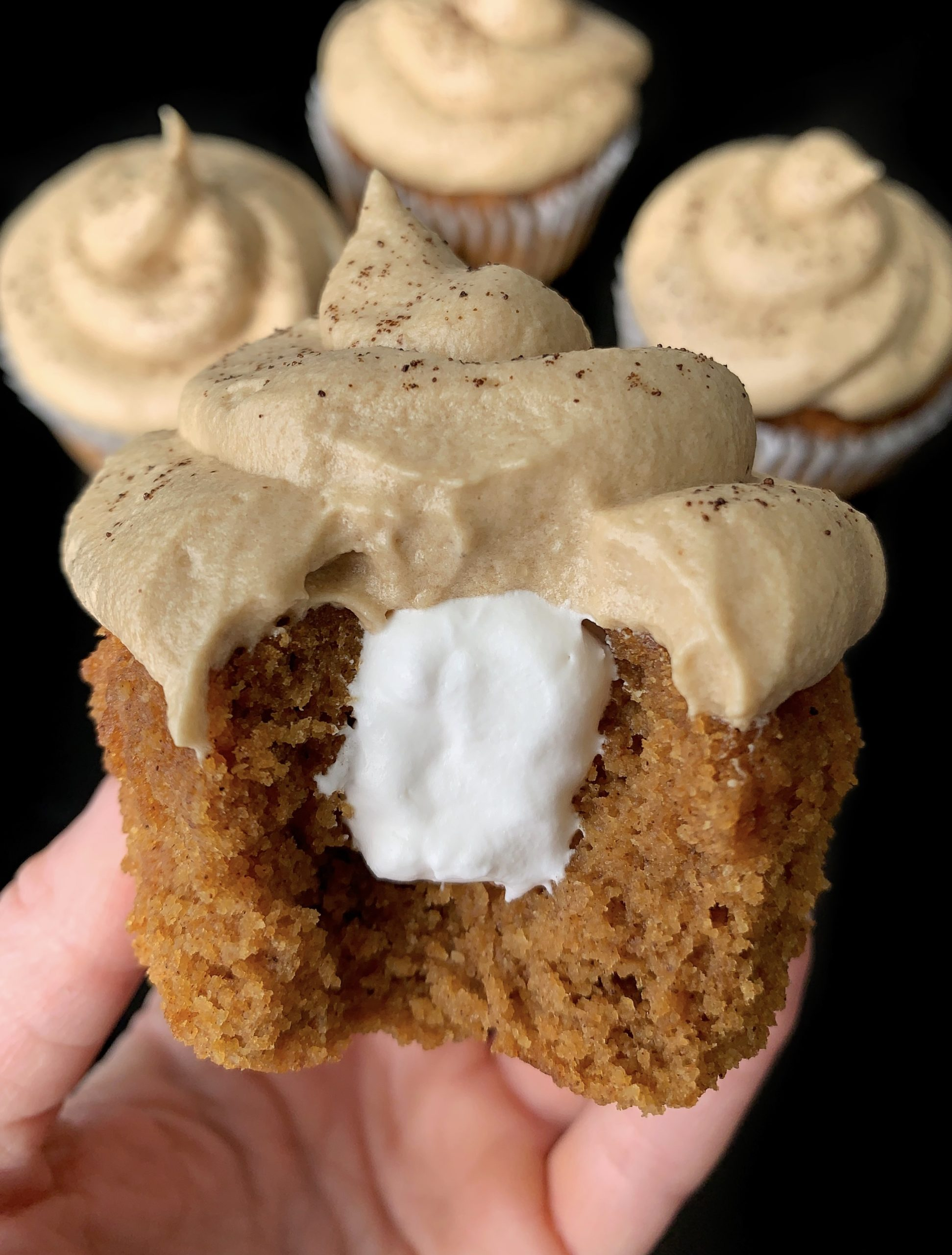Pumpkin Spice Cupcakes with Cream filling and espresso frosting